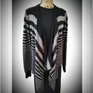 Open cardigan sweater striped draped lapel Large